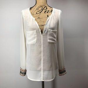 Zara Embellished Sleeve Tissue Top